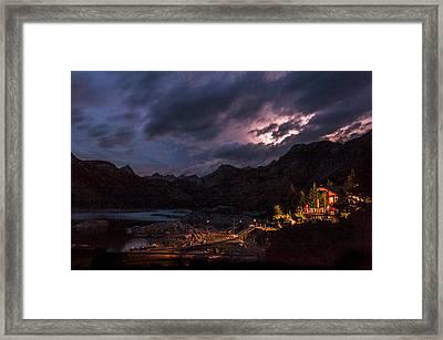 Lightning At Lake Sabrina Framed Print