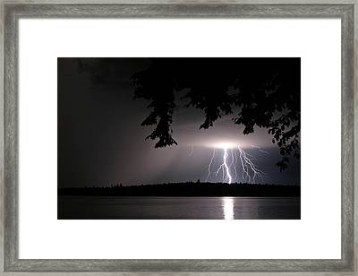 Framed Print featuring the photograph Lightning At Night by Barbara West