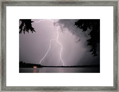 Framed Print featuring the photograph Lightning At The Lake by Barbara West