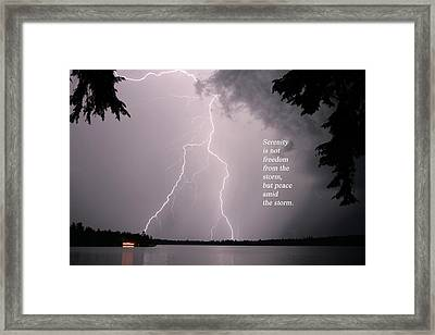 Framed Print featuring the photograph Lightning At The Lake - Inspirational Quote by Barbara West