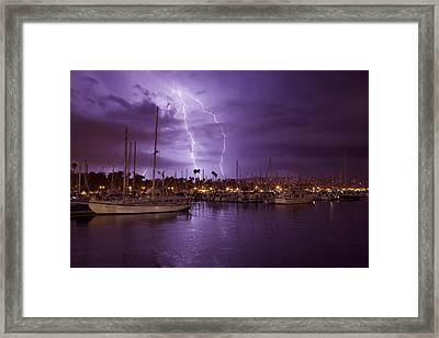 Lightning Behind Santa Barbara Harbor  Mg_6541 Framed Print by David Orias