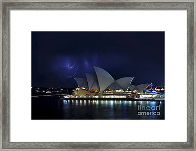 Lightning Behind The Opera House Framed Print by Kaye Menner