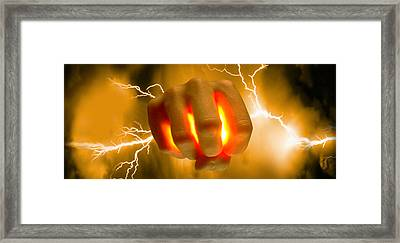 Lightning Coming Out Of Hand Framed Print by Panoramic Images