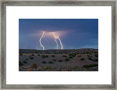Lightning Dance Over The New Mexico Desert Framed Print