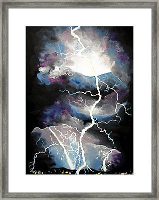Framed Print featuring the painting Lightning by Daniel Janda