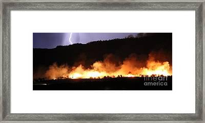 Framed Print featuring the photograph Lightning During Wildfire by Bill Gabbert