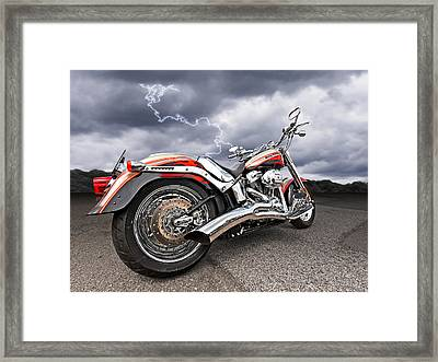 Lightning Fast - Screamin' Eagle Harley Framed Print
