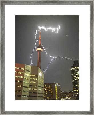 Lightning Hits Cn Tower Framed Print