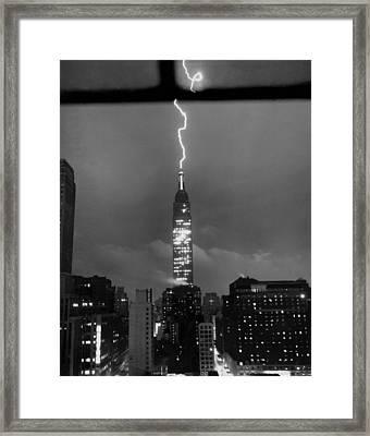 Lightning Hits Empire State Framed Print