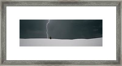 Lightning In The Sky Over A Desert Framed Print by Panoramic Images