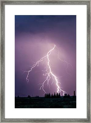 Lightning In Yellowstone National Park Framed Print by Ben Horton