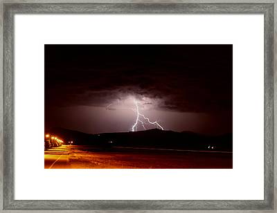 Lightning Mountain Framed Print