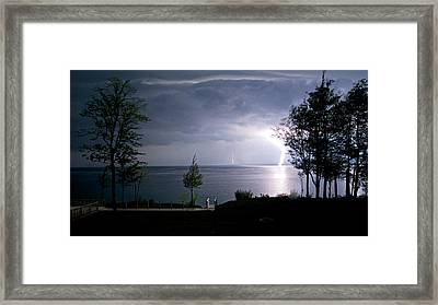 Lightning On Lake Michigan At Night Framed Print by Mary Lee Dereske