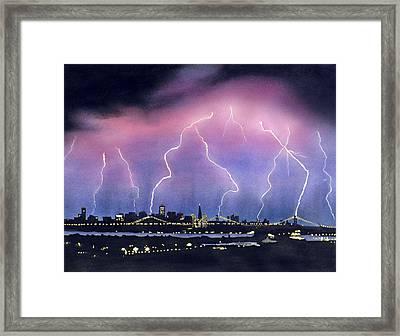 Lightning On The Bay Bridge Framed Print by Janaka Ruiz