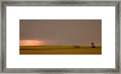 Lightning On The Horizon Of Oil Fields  Framed Print