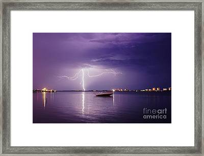 Lightning On The Indian River Framed Print by Lynda Dawson-Youngclaus