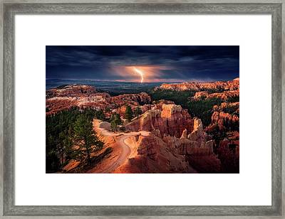 Lightning Over Bryce Canyon Framed Print by Stefan Mitterwallner