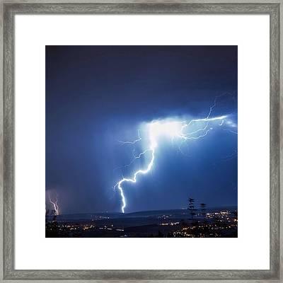 Lightning Over City Framed Print by Hans-peter Semmler / Eyeem