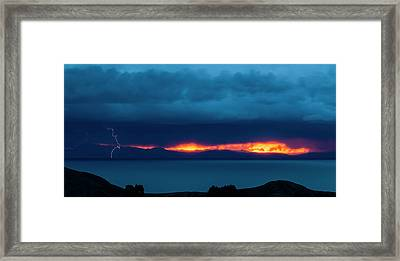 Lightning Over Lake, Isla Del Sol, Lake Framed Print by Panoramic Images