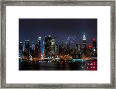 Lightning Over New York City IIi Framed Print by Clarence Holmes