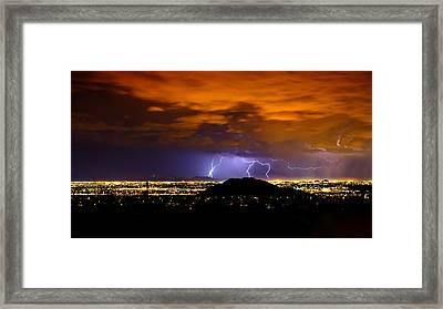 Lightning Over Phoenix  Framed Print