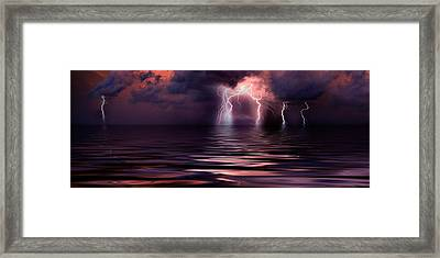 Lightning Over The Sea Framed Print by Panoramic Images