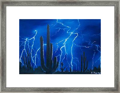 Lightning  Over The Sonoran Framed Print by Sharon Duguay