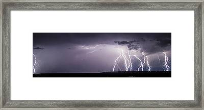 Lightning Over The Wind Farm Framed Print