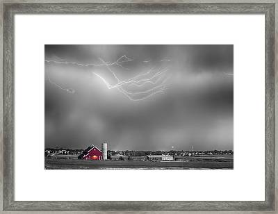 Lightning Storm And The Big Red Barn Bwsc Framed Print by James BO  Insogna