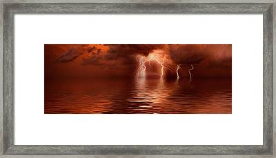Lightning Storm Over The Sea Framed Print by Panoramic Images