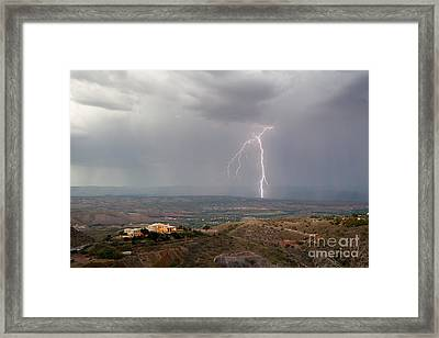 Lightning Storm Over The Verde Valley As Seen From Jerome Arizona Framed Print