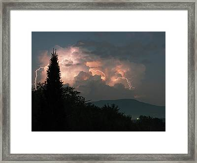 Lightning Storm Over Vermont Framed Print by Lawrence Lawry