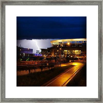 Lightning Strike Beyond Target Field Framed Print