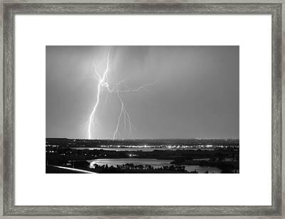 Lightning Strike Boulder Reservoir And Coot Lake Bw Framed Print