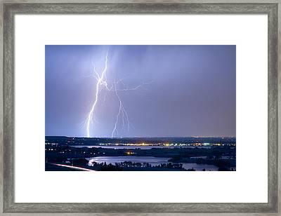 Lightning Strike Boulder Reservoir And Coot Lake Framed Print