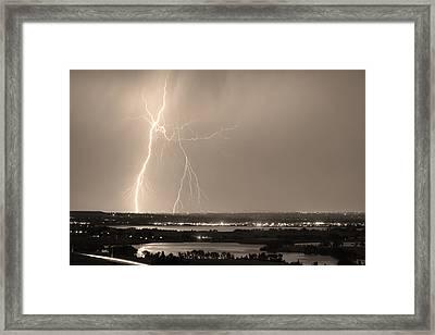 Lightning Strike Boulder Reservoir And Coot Lake Sepia Framed Print by James BO  Insogna
