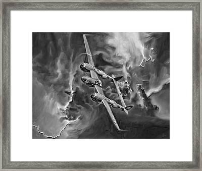 Lightning Strike-bw Framed Print