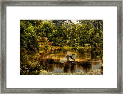 Lightning Strike By The Nature Center Merged Image Framed Print by Thomas Woolworth