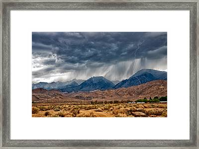 Lightning Strike Framed Print by Cat Connor
