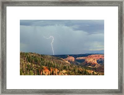 Lightning Strike In Bryce Canyon. Framed Print
