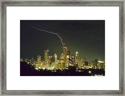 Lightning Strike In City Of Seattle Framed Print