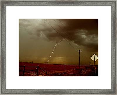 Framed Print featuring the photograph Lightning Strike In Oil Country by Ed Sweeney