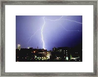 Lightning Strike In Omaha Framed Print by Jetson Nguyen