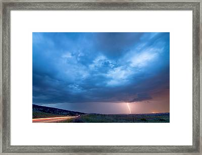 Lightning Strike Just Outside Of Lyons Colorado Framed Print by James BO  Insogna