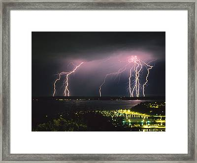 Lightning Strike Framed Print by King Wu