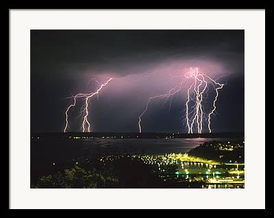 Lightning Strike Photographs Framed Prints