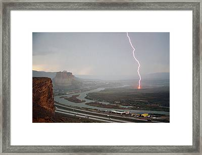 Lightning Strike Near Green River Framed Print