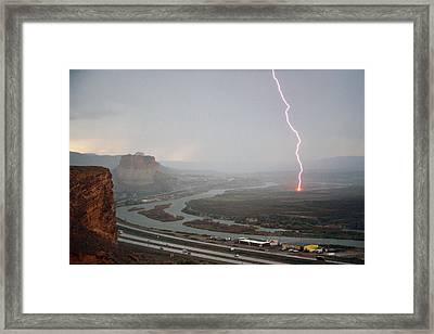 Lightning Strike Near Green River Framed Print