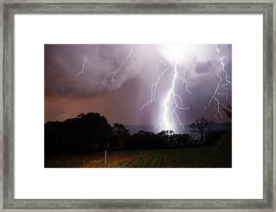 Lightning Strike Framed Print by Olivier Vandeginste