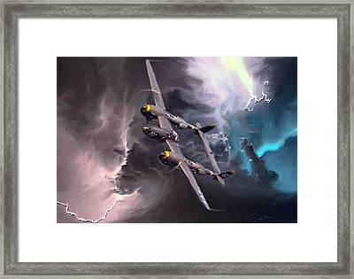 Lightning Strike Framed Print by Peter Chilelli
